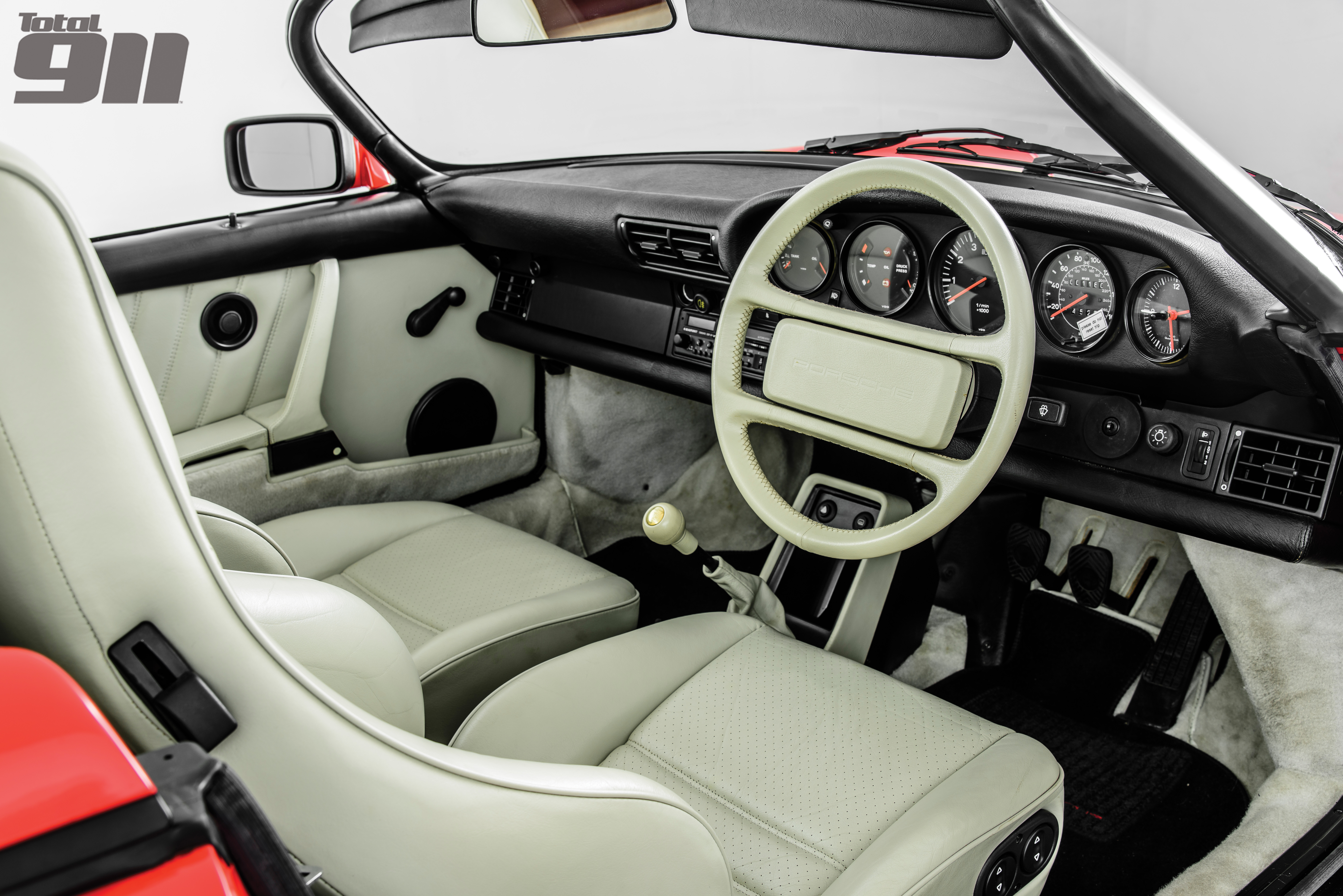Inside the first 911 Speedster was the best of late 3.2 Carreras, with enhanced vision afforded to the driver from his seat.