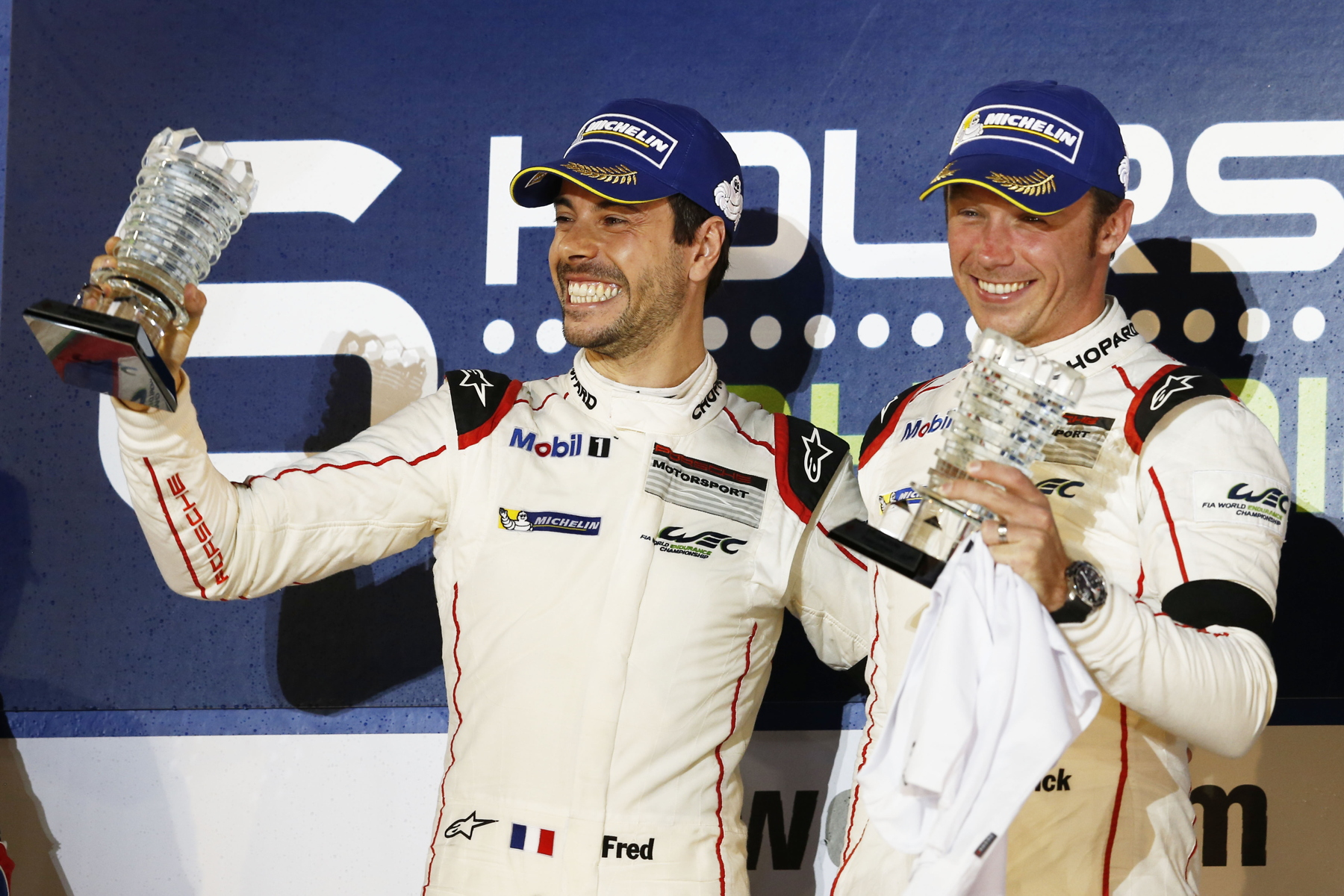 Victory in Bahrain was the first FIA WEC win for Frédéric Makowiecki (left) and Patrick Pilet (right) this season.