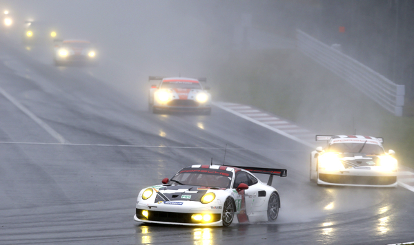 Racing at Fuji was limited to a handful of laps behind the safety car, with the number 91 911 RSR coming home third.
