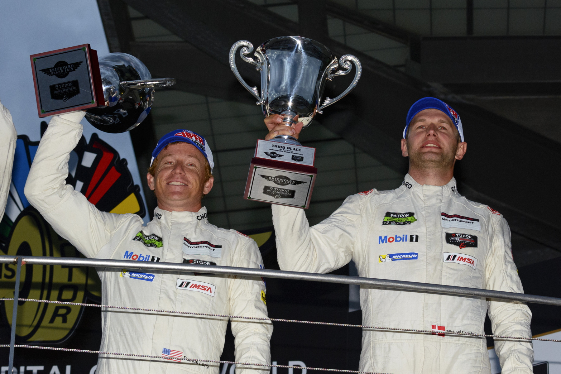 Indianapolis marked Patrick Long (left) and Michael Christensen's (right) first podium since their Sebring win.
