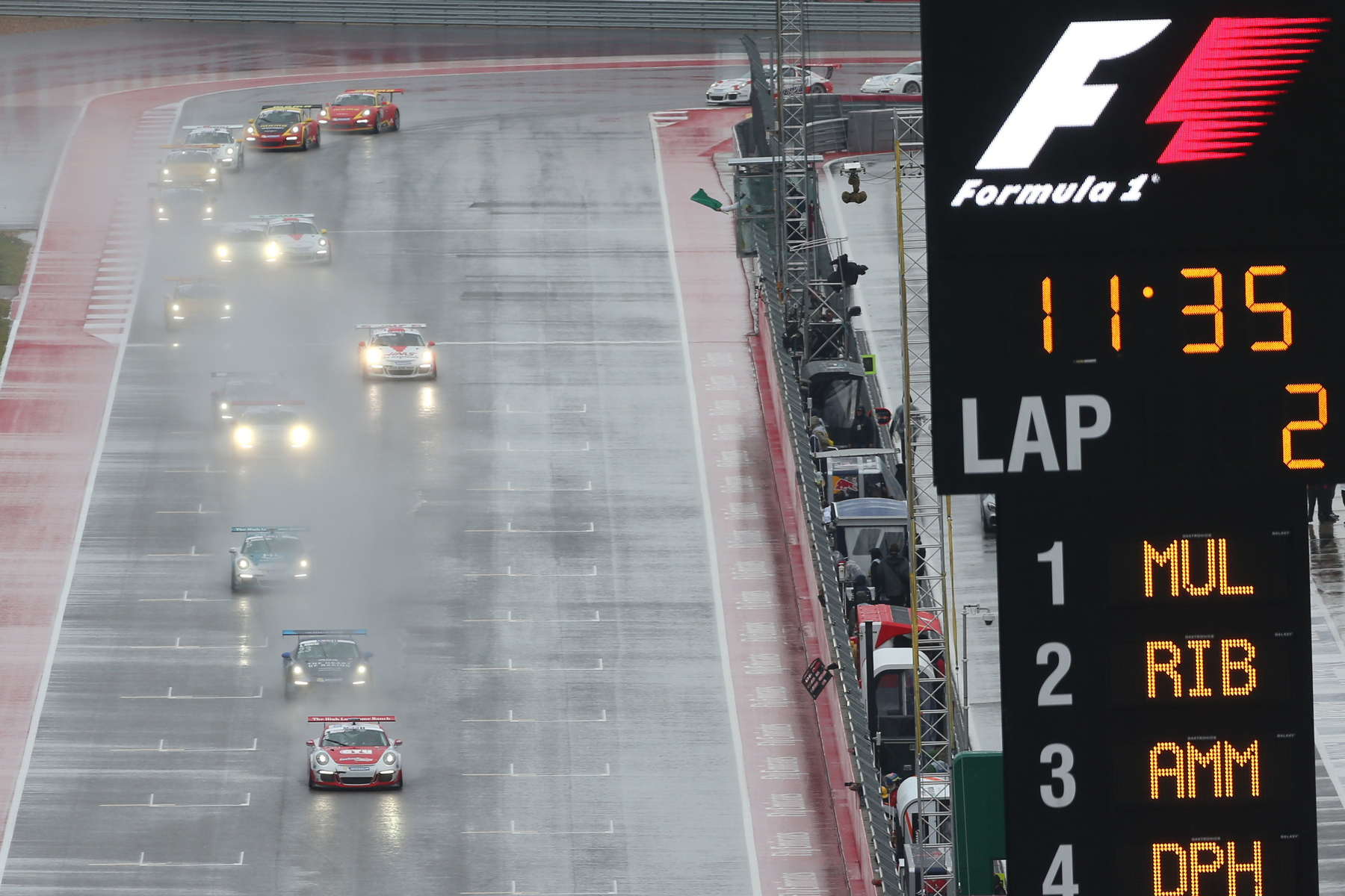 Porsche Junior, Sven Müller led early on in the wet conditions before Riberas chose his moment to pounce.